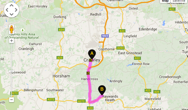 Directions to Gallery Dental from Crawley, West Sussex
